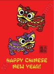Miss Fong in Hong Kong CNY Postcard - Lion Dance